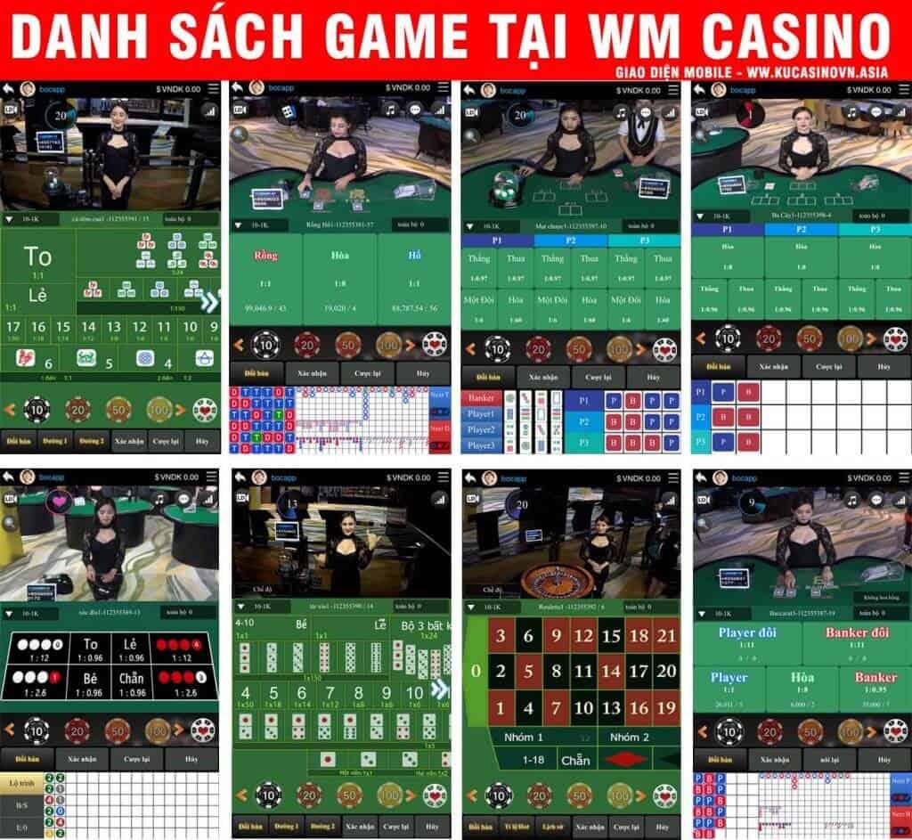 danh sách game wm casino, wm casino, game kubet