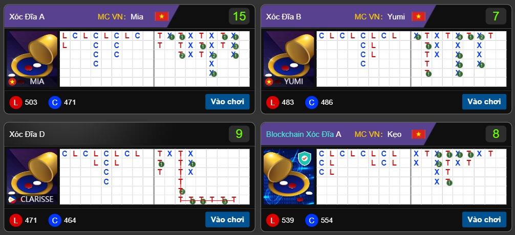 Nhiều bàn chơi xóc đĩa trên Kube có Mc là người việt trực tiếp