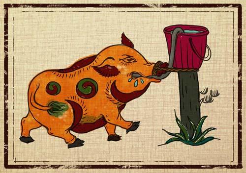 hình ảnh con lợn thường thấy trong tranh đông hồ Việt Nam