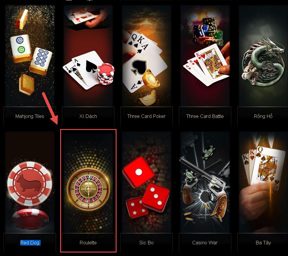 Chọn trò chơi roulette