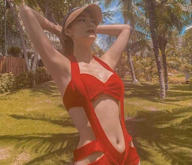 hinh goi cam minh hang - Chiếc bikini màu đỏ phá cách giúp Minh Hằng thêm phần hấp dẫn
