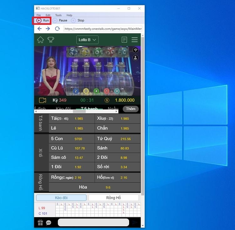giao diện phần mềm hack loto bet tại nhà cái KU